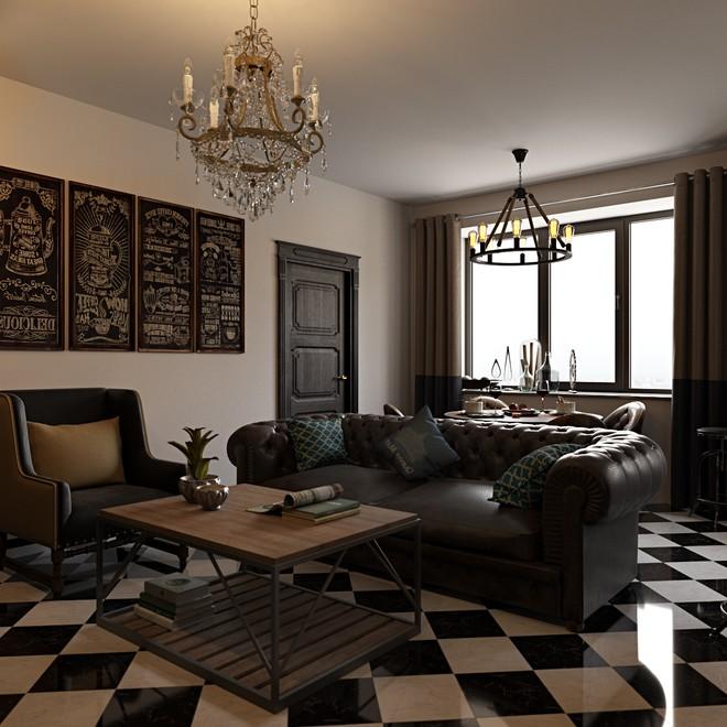 Кожаный диван на фоне чёрно-белой плитки