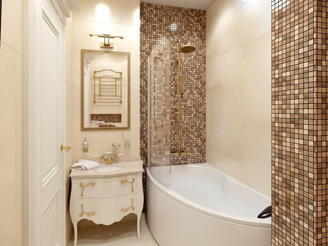 Стильное оформление маленькой ванной комнаты