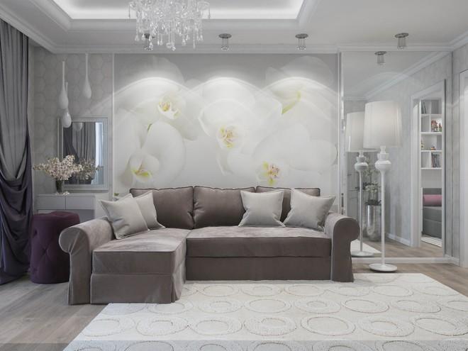 Роспись из цветов во всю стену в гостиной