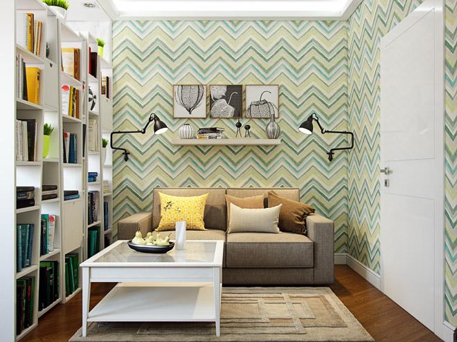 Разноцветный узор на стене малогабаритной гостиной
