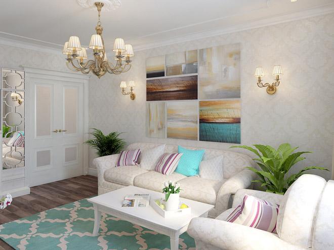 Потрясающая гостиная в стиле прованс