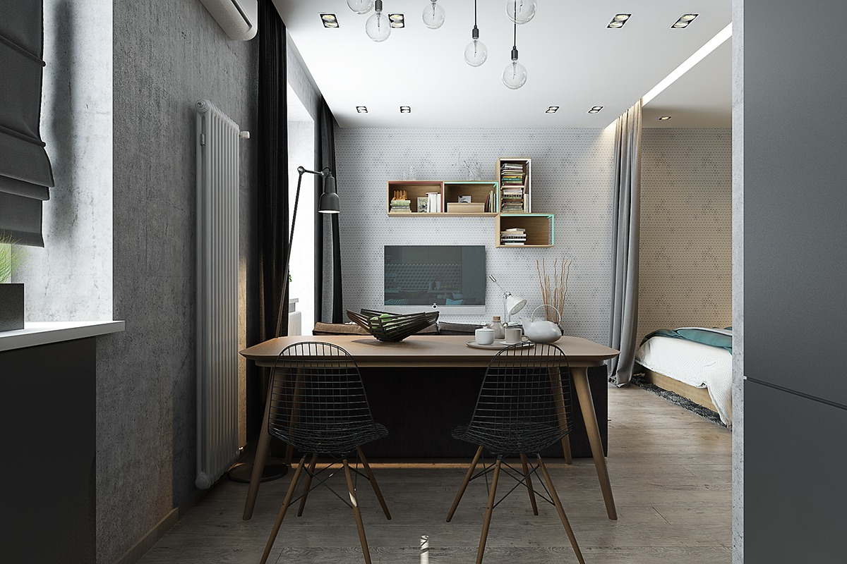 Оформление маленькой квартиры студии в серо-зелёном цвете - фото 5