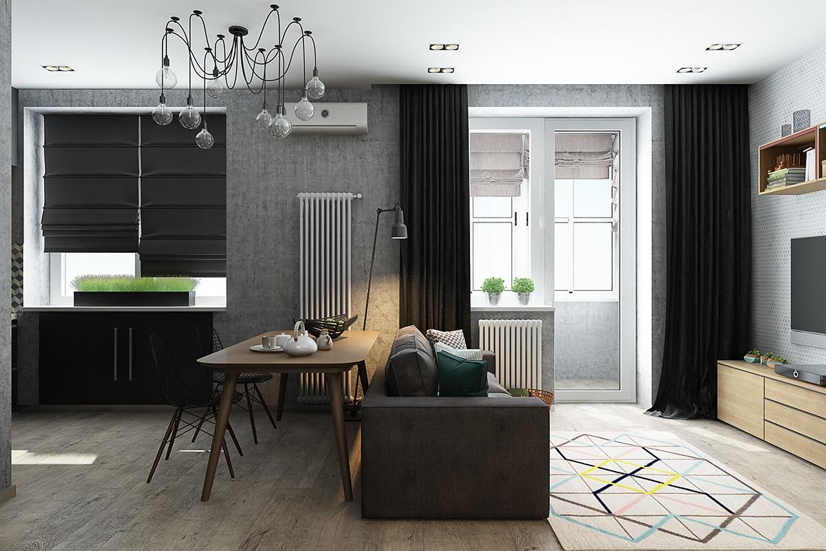 Оформление маленькой квартиры студии в серо-зелёном цвете - фото 6