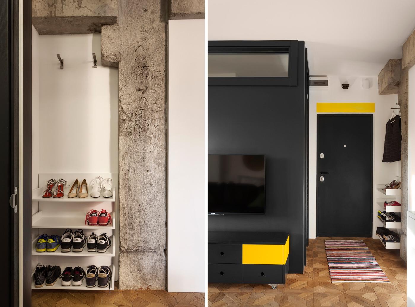 Оформление маленькой квартиры студии в чёрно-белом цвете - фото 6