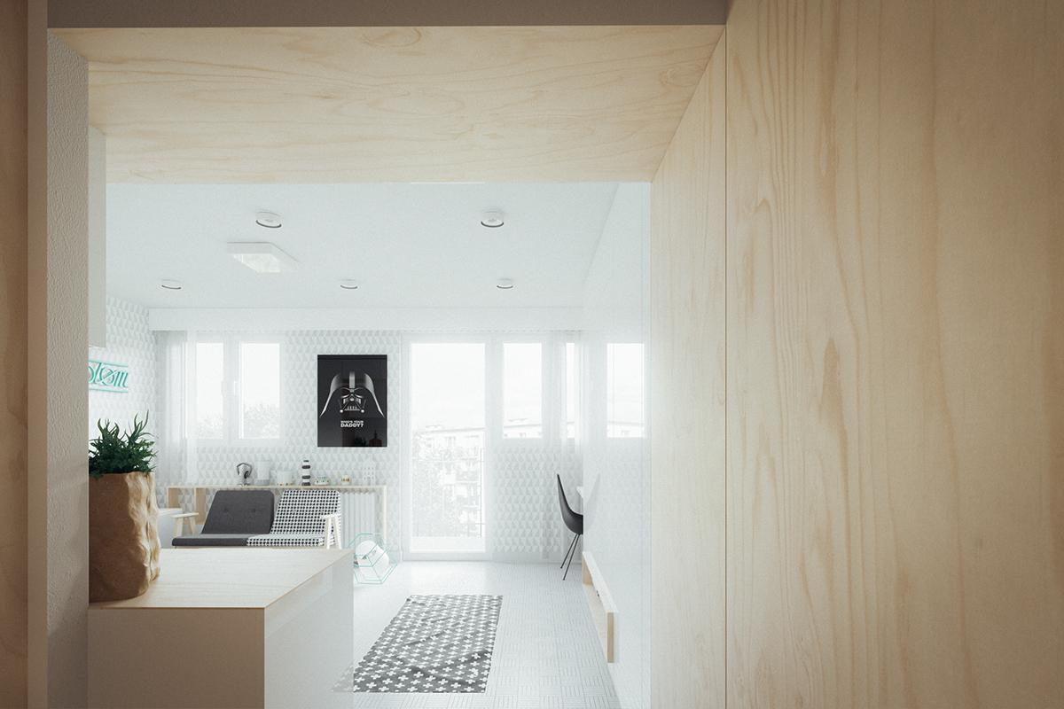 Оформление маленькой квартиры студии в светлых тонах - фото 6