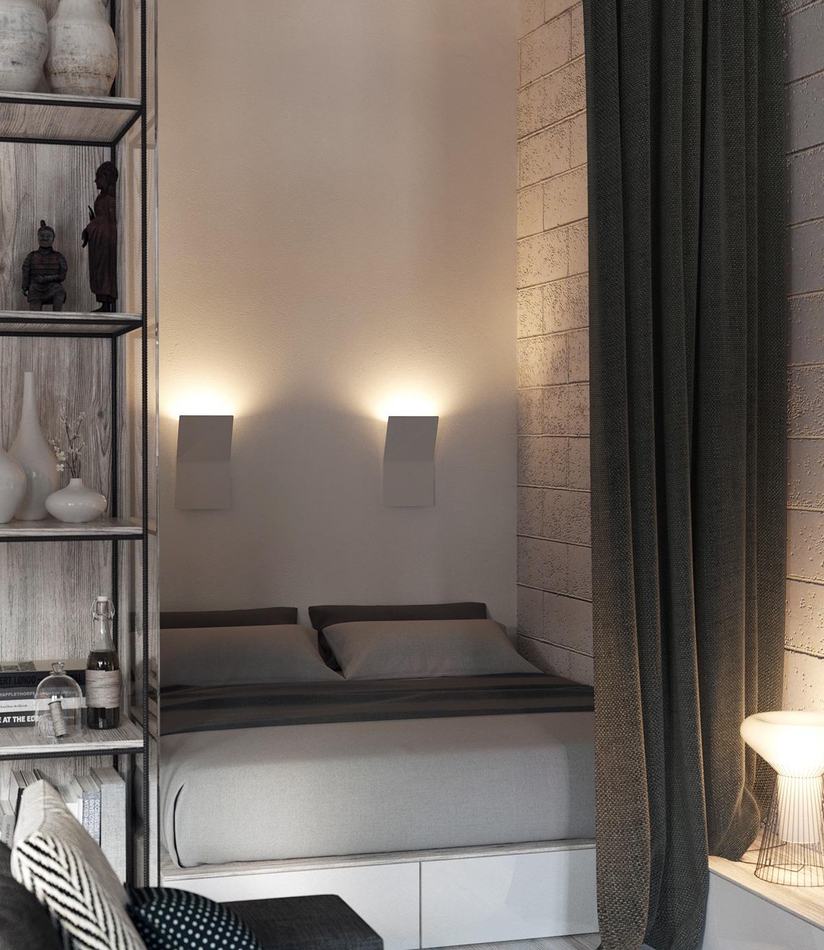 Спальня в промышленном стиле