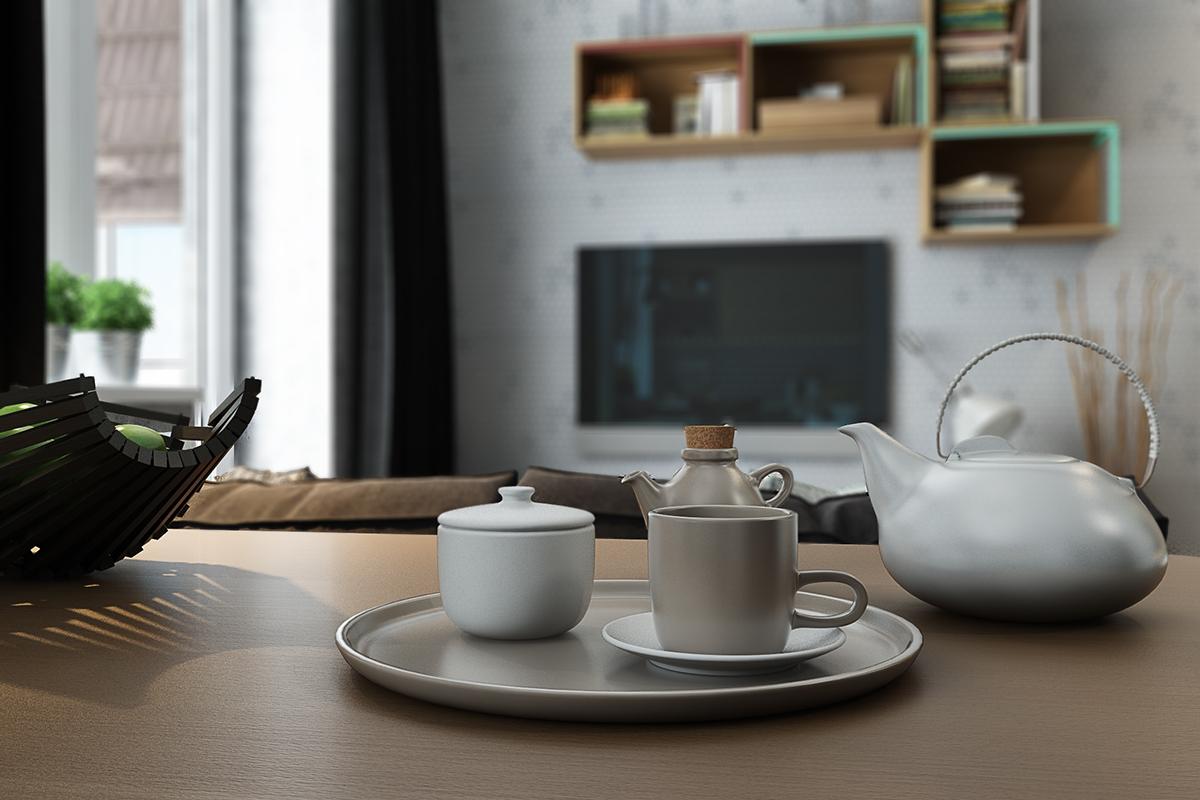 Чайный сервиз в оформлении маленькой квартиры студии