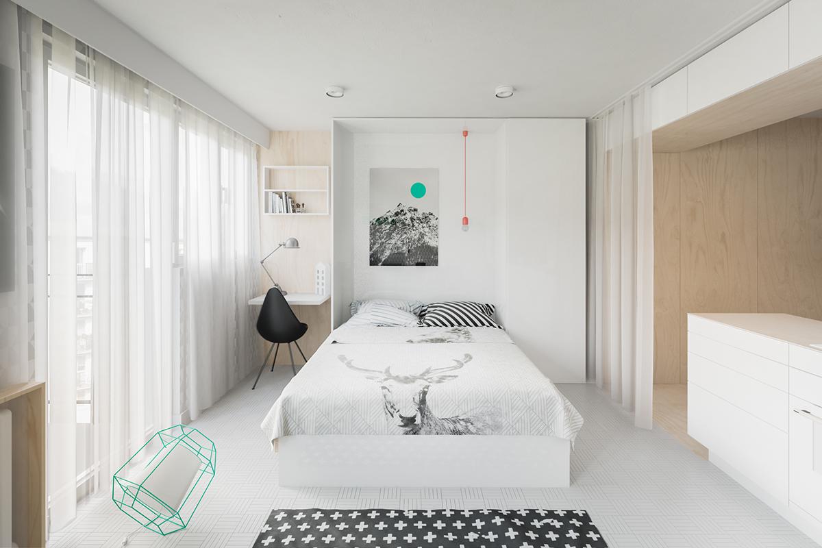 Оформление маленькой квартиры студии в светлых тонах - фото 5