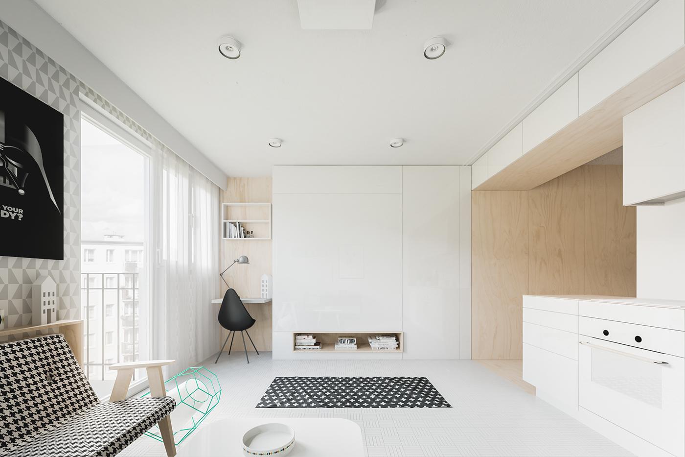 Оформление маленькой квартиры студии в светлых тонах - фото 2