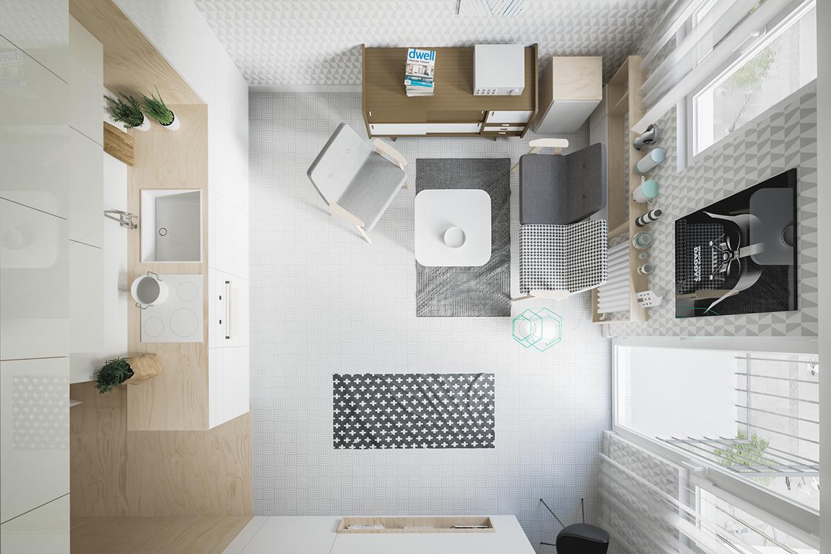 Оформление маленькой квартиры студии в светлых тонах - фото 7