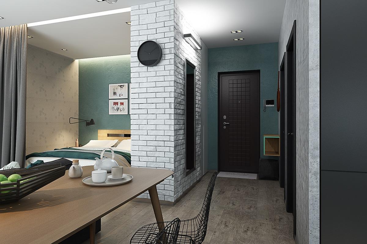 Оформление маленькой квартиры студии в серо-зелёном цвете - фото 2