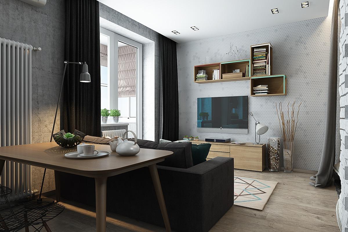 Оформление маленькой квартиры студии в серо-зелёном цвете - фото 7