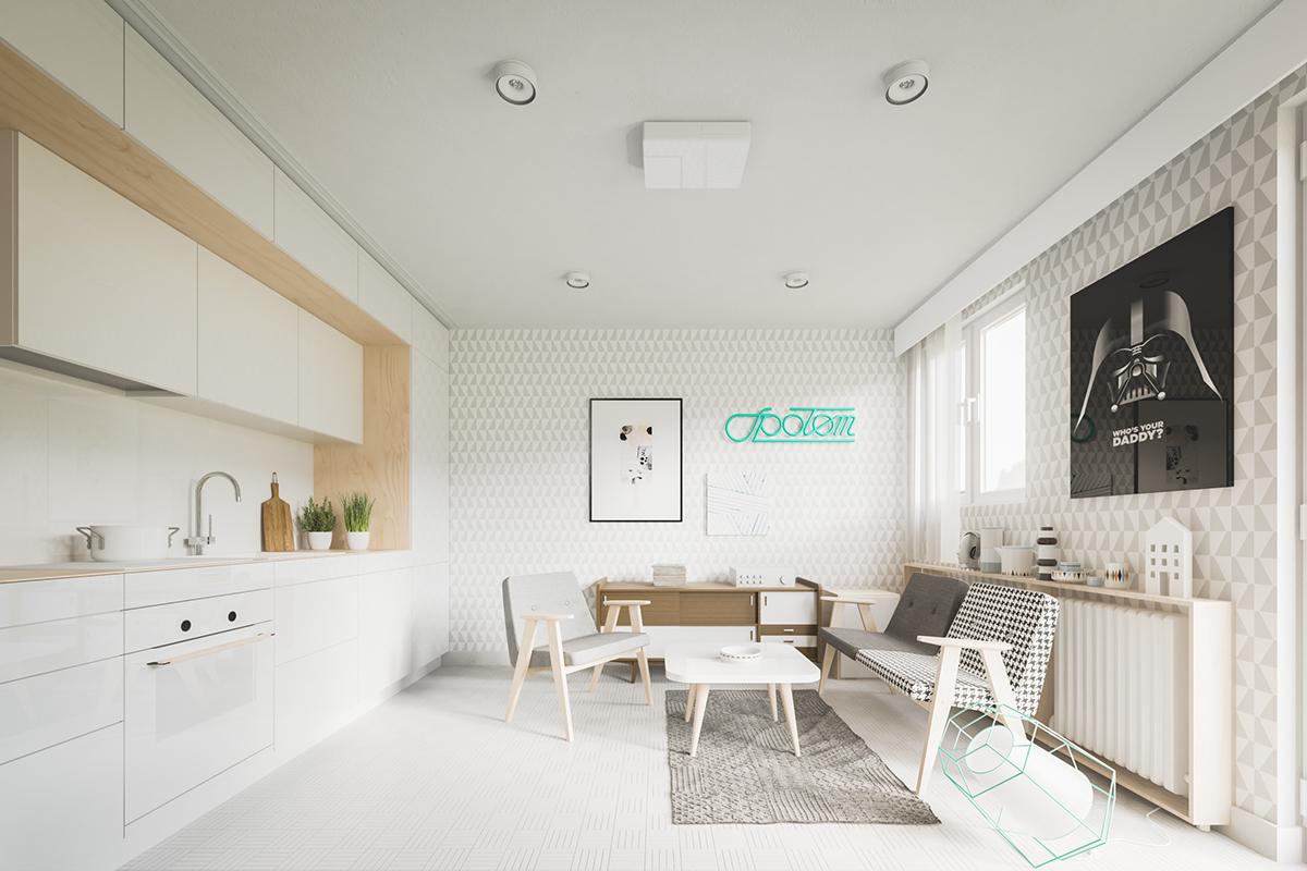 Оформление маленькой квартиры студии в светлых тонах - фото 1
