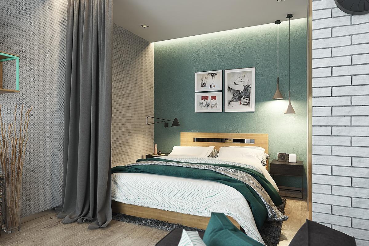 Оформление маленькой спальни в серо-зелёном цвете