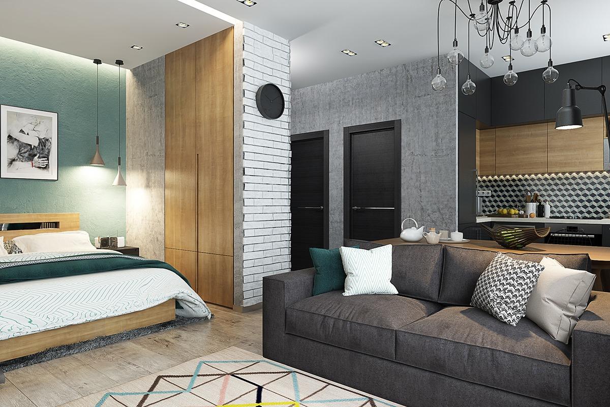 Оформление маленькой квартиры студии в серо-зелёном цвете - фото 1