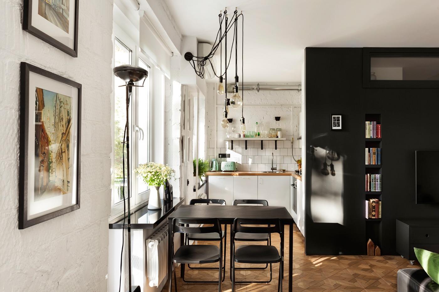 Оформление маленькой кухни в чёрно-белом цвете