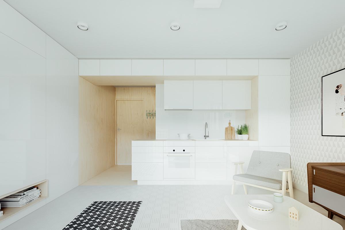 Оформление маленькой квартиры студии в светлых тонах - фото 3