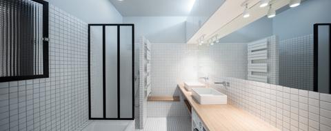 Оформление маленькой ванной в белом цвете