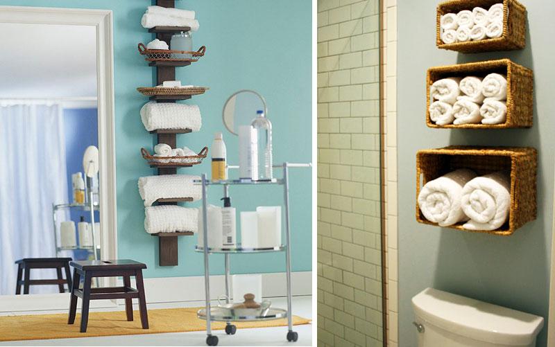 Открытые полки в оформлении маленькой ванной