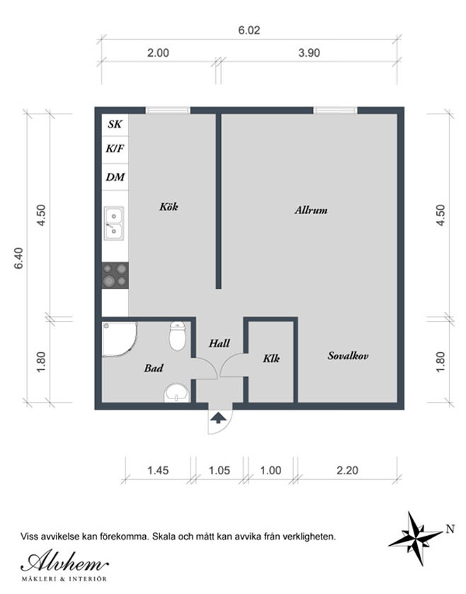 Планировка маленькой квартиры в Готеборге