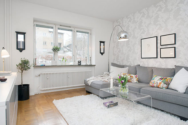 Гостиная маленькой квартиры в Готеборге