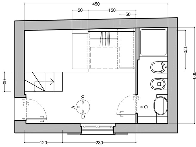 Планировка первого уровня небольшой квартиры-студии в Милане
