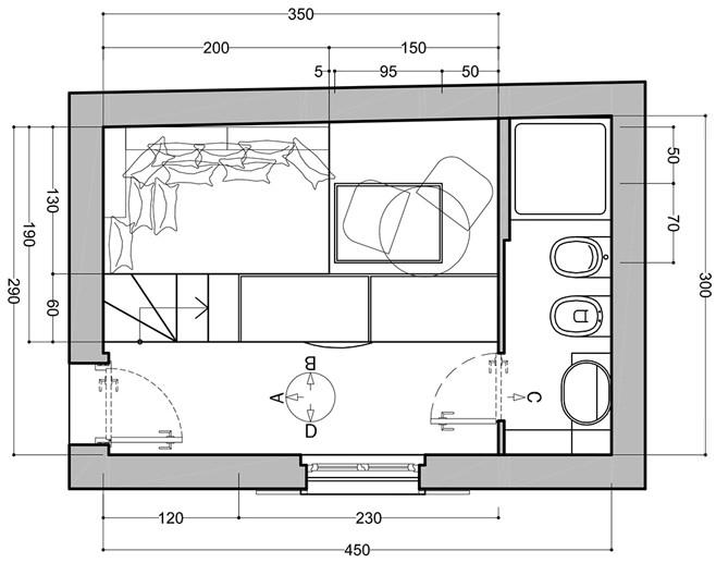 Планировка второго уровня небольшой квартиры-студии в Милане