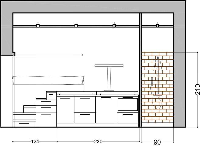 Схема небольшой квартиры-студии в Милане