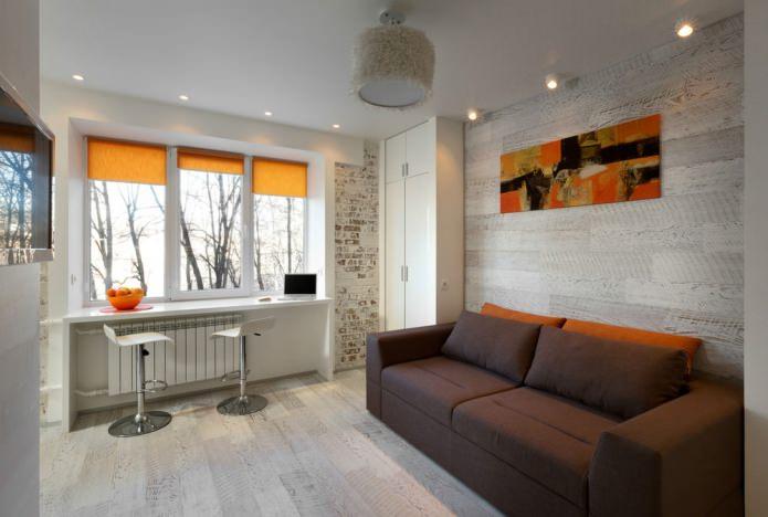 Гостиная маленькой квартиры-студии в Киеве