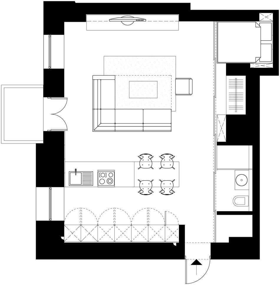 Планировка стильной квартиры-студии в Киеве