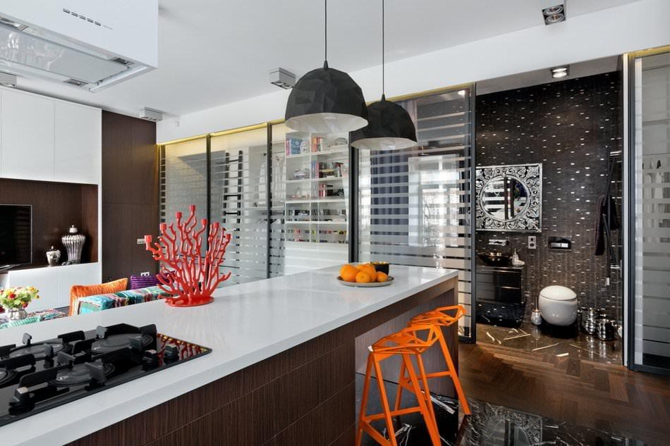 Кухня стильной квартиры-студии в Киеве