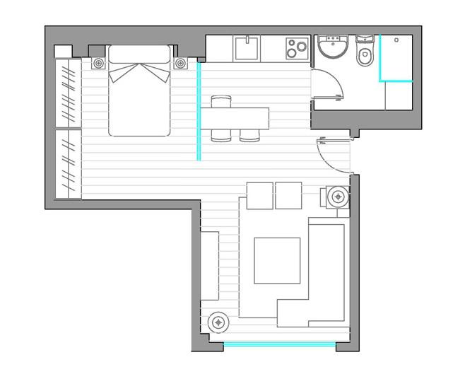 Планировка квартиры-студии в Испании