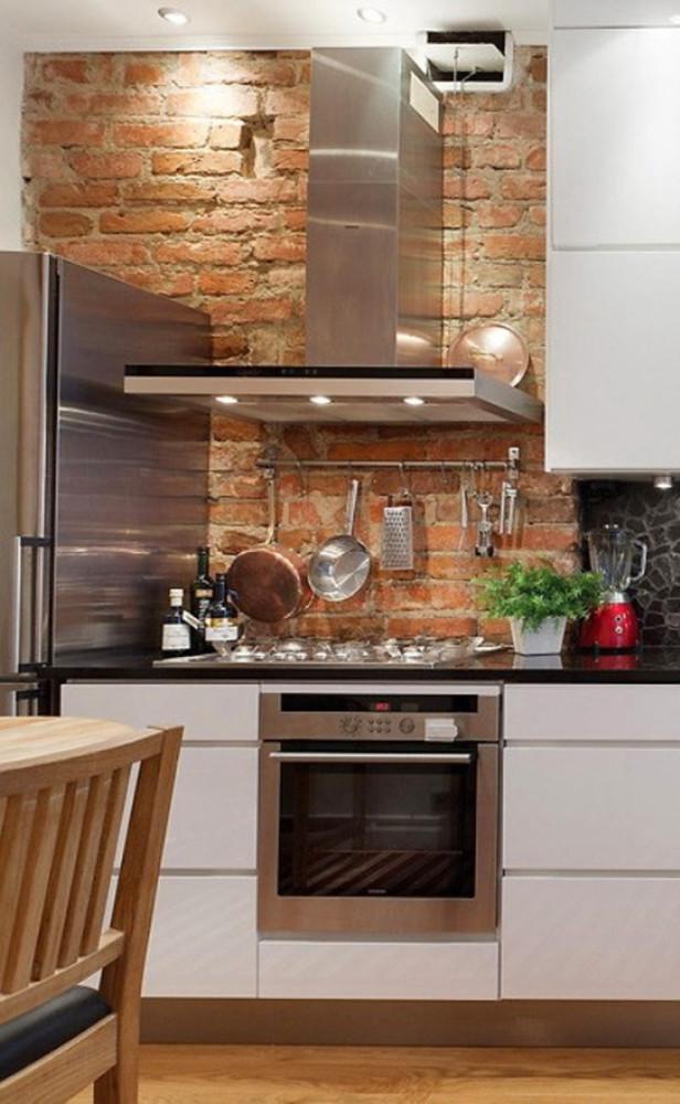 Кирпичная кладка в оформлении кухни