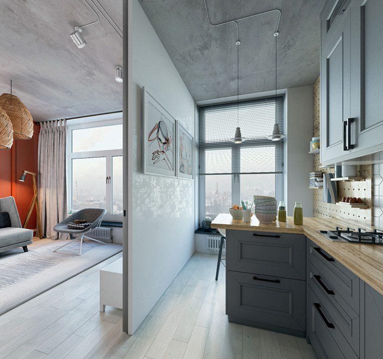 Оформление маленькой квартиры в серых тонах - фото 6