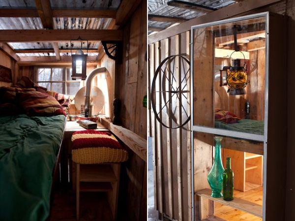 Декор интерьера маленького коттеджа из дерева