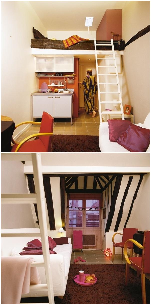 Кровать на антресоли, кухня, гостиная и ванная