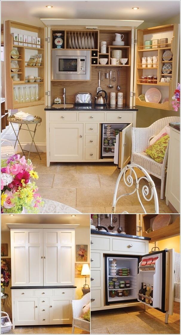 Складная мини-кухня в отдельном шкафу