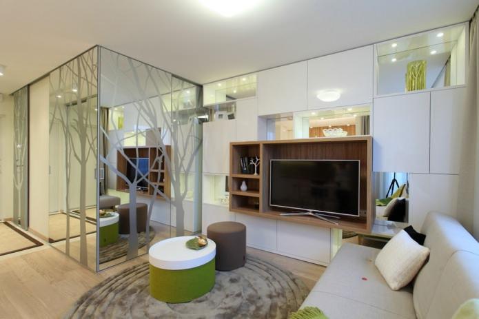 Гостиная стильной однокомнатной квартиры