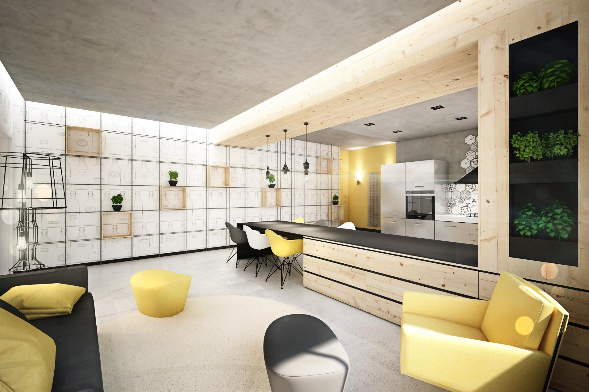 Интерьер маленькой квартиры с жёлтыми и чёрными акцентами