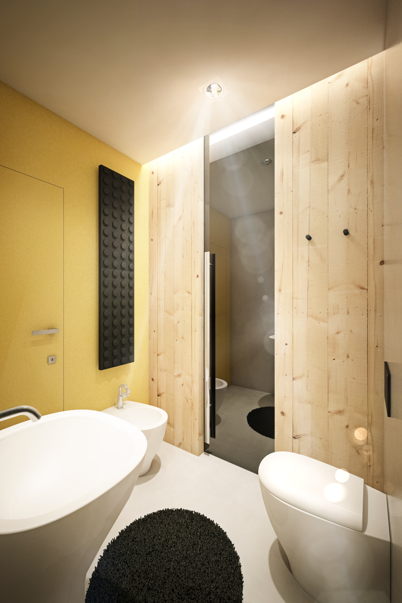 Деревянная стена с зеркалом в ванной