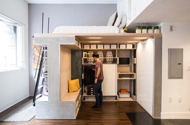 Спрятанный шкаф в интерьере маленькой квартиры