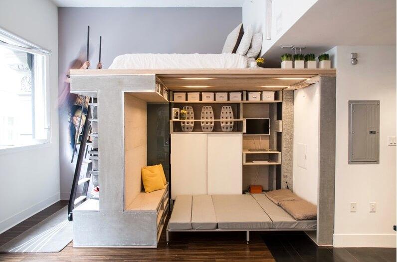 Спальное место в интерьере маленькой квартиры