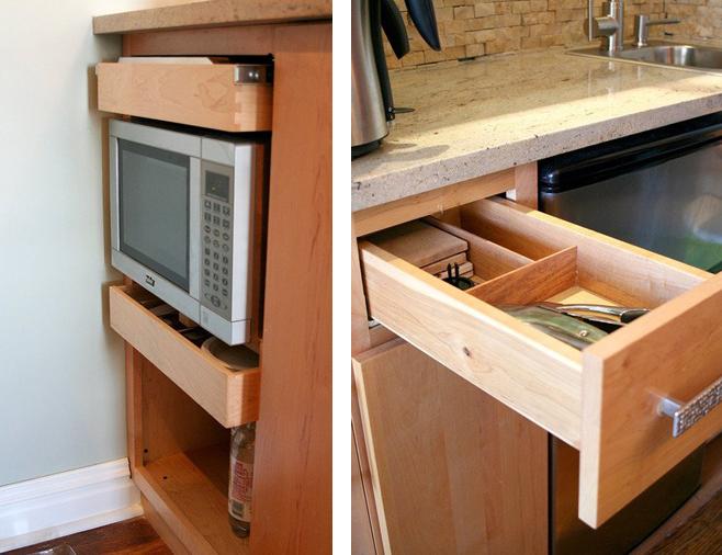 Выдвижные ящики для хранения кухонной утвари