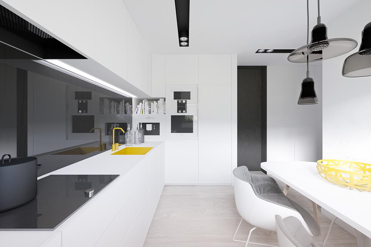 Жёлтые акценты в интерьере чёрно-белой кухни
