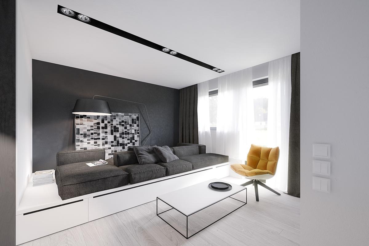 Интерьер маленькой квартиры в чёрно-белом цвете