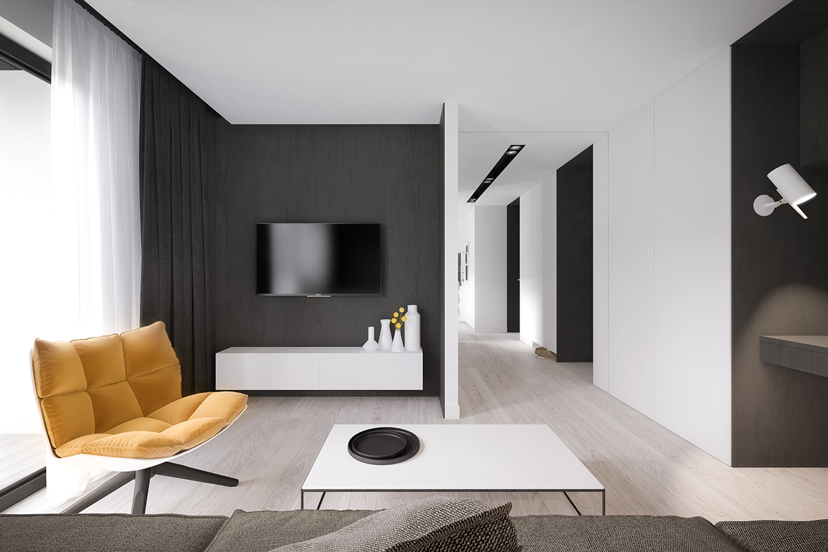 Яркое кресло в чёрно-белом интерьере