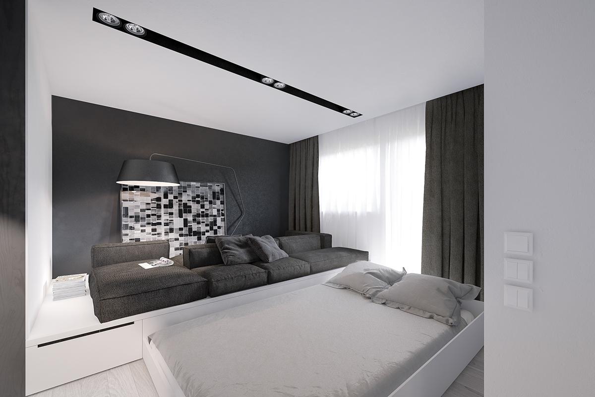 Выдвижная кровать в гостиной маленькой квартиры