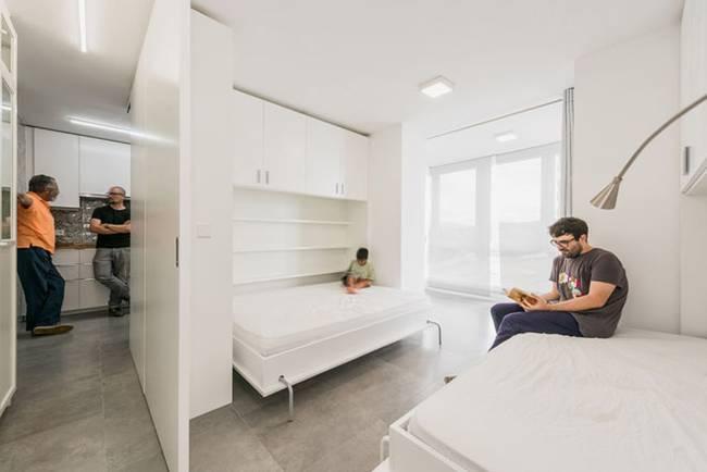 С помощью стен-трансформеров можно создать 2 отдельные спальни