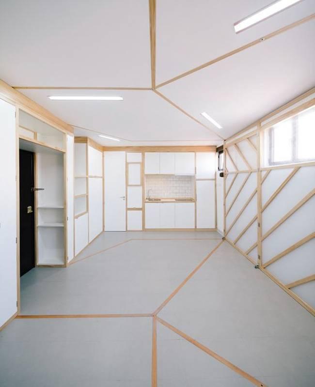 Кухня в квартире с передвижными стенами