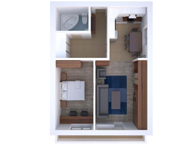 Планировка двухкомнатной квартиры для пары средних лет